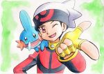 1boy ;d beanie black_hair commentary_request fingerless_gloves gloves green_background hand_up hat highres jacket long_sleeves male_focus mudkip oka_mochi on_shoulder one_eye_closed open_mouth pokemon pokemon_(creature) pokemon_adventures pokemon_on_shoulder red_jacket ruby_(pokemon) short_hair smile tongue traditional_media upper_body violet_eyes white_headwear yellow_gloves