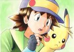 1boy bangs baseball_cap blue_eyes brown_hair commentary_request fingerless_gloves gloves green_background green_jacket grey_gloves hand_up hat highres jacket looking_down male_focus oka_mochi open_mouth pikachu pokemon pokemon_(anime) pokemon_(classic_anime) ritchie_(pokemon) sparky_(pokemon) spiky_hair tongue traditional_media