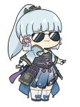 >:) 1girl :3 arm_guards armor armored_dress bangs black_gloves blunt_bangs bow chest_armor chibi commentary_request eyebrows_visible_through_hair fingerless_gloves full_body genshin_impact gloves hair_bow hair_ornament hair_ribbon hair_tubes japanese_clothes kamisato_ayaka long_hair looking_at_viewer nyaru_(nyaru_4126) outstretched_arms ponytail ribbon sidelocks silver_hair simple_background solo spread_arms standing sunglasses tress_ribbon v-shaped_eyebrows white_background white_legwear