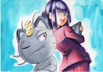 1girl :d alolan_form alolan_meowth bangs blue_background blunt_bangs commentary_request glasses highres holding jacket looking_back looking_down matori_(pokemon) oka_mochi open_mouth pants pokemon pokemon_(anime) pokemon_(creature) pokemon_sm_(anime) purple_hair purple_jacket purple_pants short_hair smile tablet_pc team_rocket tongue traditional_media violet_eyes