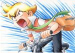 1boy bag bangs bicycle black_pants blonde_hair brown_bag collared_jacket commentary_request floating_scarf green_scarf ground_vehicle highres holding jacket male_focus oka_mochi open_mouth orange_eyes pants pearl_(pokemon) pokemon pokemon_adventures popped_collar riding_bicycle scarf short_hair short_sleeves shoulder_bag solo striped striped_jacket tongue traditional_media