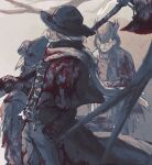 1girl 2boys axe bandaged_arm bandages beard blood blood_in_hair blood_on_bandages blood_on_clothes blood_on_hands blood_on_weapon bloodborne cape cloak closed_mouth coat commentary_request covered_eyes djura eileen_the_crow facial_hair father_gascoigne from_side hand_in_pocket hat highres holding holding_axe holding_weapon long_coat mask multiple_boys one_eye_covered sakuramochi920 scarf short_hair tricorne weapon white_hair