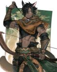 1boy abs animal_ears avatar_(ffxiv) black_hair black_shirt bow_(weapon) brown_capelet capelet cat_boy cat_ears closed_mouth commentary_request cowboy_shot crop_top dark-skinned_male dark_skin final_fantasy final_fantasy_xiv green_eyes hair_over_one_eye highres holding holding_bow_(weapon) holding_weapon male_focus midriff miqo'te mn_(zig_r14) navel one_eye_covered scar scar_on_face serious shirt short_hair solo vambraces weapon