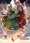 2girls absurdres bow dress ex-keine eyebrows_visible_through_hair fujiwara_no_mokou full_moon green_dress green_hair hair_between_eyes hair_bow hair_ribbon highres hitodama horn_ornament horn_ribbon horns kamishirasawa_keine long_hair long_sleeves looking_at_viewer moon multicolored_hair multiple_girls ofuda ofuda_on_clothes one_eye_closed outstretched_arm pants red_eyes red_pants red_ribbon ribbon scroll shi_chimi shirt short_sleeves smile suspenders touhou two-tone_hair white_hair white_shirt