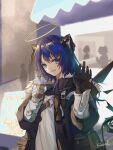 1girl arknights asymmetrical_gloves black_gloves black_jacket blue_eyes blue_hair cameo chinese_commentary commentary_request cup demon_horns detached_wings energy_wings fur-trimmed_hood fur_trim gloves halo highres holding holding_cup hood horns jacket kaxnight mismatched_gloves mostima_(arknights) open_clothes open_jacket open_mouth people shirt solo_focus the_emperor_(arknights) upper_body waving white_gloves white_shirt wings