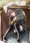 1girl bernadetta_von_varley bike_shorts blush book boots commentary_request epaulettes eyebrows_behind_hair fire_emblem fire_emblem:_three_houses garreg_mach_monastery_uniform grey_eyes hiding highres holding holding_book inkwell long_sleeves messy_hair on_floor open_mouth purple_hair quill sakadume_107 short_hair shorts shorts_under_skirt sitting solo tearing_up thigh-highs thigh_boots under_table uniform