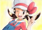 1girl ;d blue_overalls bow brown_eyes brown_hair cabbie_hat commentary_request eyelashes hand_up hat hat_bow highres long_hair lyra_(pokemon) oka_mochi one_eye_closed open_mouth overalls pokemon pokemon_(game) pokemon_hgss red_bow red_shirt shirt smile solo tongue traditional_media twintails upper_body white_headwear yellow_background