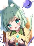 1girl absurdres animal_ears bangs blouse blush border breasts cat_ears cat_tail closed_mouth collar collared_shirt crystal eyebrows_visible_through_hair eyes_visible_through_hair floor frills green_eyes green_hair hair_between_eyes heart heart-shaped_pupils highres jewelry komeiji_koishi light long_sleeves looking_at_viewer medium_breasts no_hat no_headwear shadow shiki_(s1k1xxx) shirt short_hair smile solo symbol-shaped_pupils tail third_eye touhou white_border yellow_blouse