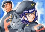 1boy 1girl alolan_form alolan_meowth bangs black_headwear black_jacket blunt_bangs brown_hair closed_mouth commentary eyepatch frown furrowed_brow glasses gozu_(pokemon) hat height_difference highres jacket logo looking_at_viewer matori_(pokemon) oka_mochi pokemon pokemon_(anime) pokemon_(creature) pokemon_sm_(anime) purple_hair shiny shiny_hair short_hair traditional_media upper_body v-shaped_eyebrows