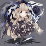 1girl angry bangs blonde_hair blue_eyes blunt_bangs boots chibi choker cloak closed_mouth detached_sleeves dress eyebrows_visible_through_hair frown grey_background highres long_hair looking_at_viewer possessed red_riding_hood_(sinoalice) sidelocks simple_background sinoalice solo standing standing_on_one_leg thigh-highs thigh_boots wavy_hair wolf xxviii_xi
