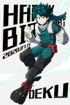 1boy bangs belt bodysuit boku_no_hero_academia buthikireta character_name clenched_hands commentary_request dated elbow_gloves energy freckles gloves green_bodysuit green_hair grey_gloves happy_birthday highres hood hood_down looking_at_viewer male_focus midoriya_izuku pouch red_belt red_footwear short_hair simple_background smile solo white_gloves
