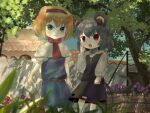 2girls absurdres alice_margatroid animal_ears bangs blonde_hair blue_dress blue_eyes capelet closed_mouth commentary cookie_(touhou) dappled_sunlight day dress ekaapetto eyebrows_visible_through_hair feet_out_of_frame finger_to_cheek flower frilled_hairband frills grey_hair grey_skirt grey_vest hairband highres ichigo_(cookie) jewelry long_sleeves looking_at_viewer mouse_ears mouse_girl mouse_tail multiple_girls nazrin neckerchief necklace nyon_(cookie) open_mouth outdoors purple_flower red_eyes red_flower red_hairband red_neckwear red_sash sash shirt short_hair skirt skirt_set smile socks sunlight tail touhou tree vest wall white_capelet white_legwear white_shirt