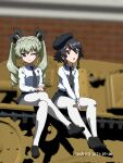 2girls 3d 3d_background :o ;) anchovy_(girls_und_panzer) anzio_school_uniform artist_name bangs belt beret black_belt black_footwear black_hair black_headwear black_neckwear black_ribbon black_skirt blurry blurry_background braid brown_eyes closed_mouth commentary_request dated depth_of_field dress_shirt drill_hair eyebrows_visible_through_hair girls_und_panzer green_hair ground_vehicle hair_ribbon hat highres loafers long_hair long_sleeves looking_at_viewer looking_to_the_side military military_vehicle miniskirt mixed_media motor_vehicle multiple_girls naotosi necktie on_vehicle one_eye_closed open_mouth pantyhose pepperoni_(girls_und_panzer) pleated_skirt ribbon school_uniform semovente_75/18 shirt shoes short_hair side_braid sitting skirt smile tank tilted_headwear twin_drills twintails v_arms white_legwear white_shirt wing_collar