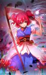 1girl absurdres artist_name blue_kimono coin_on_string commentary_request ekisutora eyebrows_visible_through_hair flower hair_between_eyes hair_bobbles hair_ornament highres hitodama holding holding_scythe japanese_clothes kimono obi one-hour_drawing_challenge onozuka_komachi puffy_short_sleeves puffy_sleeves red_eyes redhead sash scythe short_hair short_sleeves skeleton smile solo spider_lily touhou two_side_up