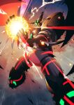 clouds darkness electricity energy_ball floating gamiani_zero getter_robo getter_robo_arc glowing highres horns mask mecha no_humans shin_getter_tarak sky solo spikes stoner_sunshine super_robot wings yellow_eyes