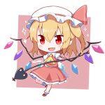 1girl :d ascot back_bow bangs blonde_hair blush bobby_socks bow chibi crystal eyebrows_visible_through_hair fang flandre_scarlet frilled_shirt_collar frills full_body hair_between_eyes hat hat_bow highres holding holding_weapon laevatein_(touhou) mob_cap one_side_up open_mouth petticoat pink_background pointy_ears puffy_short_sleeves puffy_sleeves red_bow red_eyes red_skirt red_vest short_hair short_sleeves simple_background skirt smile socks solo sparkle standing standing_on_one_leg touhou toyomagorilla vest weapon white_background white_bow white_headwear wings