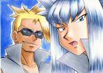 2boys attila_(pokemon) bangs black_eyes blonde_hair blue_background blue_eyes collarbone commentary_request eyebrows_visible_through_hair grey_hair grey_jacket grey_vest highres hun_(pokemon) jacket long_hair looking_down male_focus multiple_boys oka_mochi open_mouth parted_lips pokemon pokemon_(anime) pokemon_(classic_anime) popped_collar shirt smirk spiky_hair sunglasses team_rocket tongue traditional_media vest