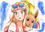 1girl bangs blonde_hair blue_background blunt_bangs closed_mouth collarbone commentary_request earrings eevee eyelashes eyeshadow eyewear_on_head green_eyes highres jewelry lipstick long_hair looking_to_the_side makeup multicolored_hair oka_mochi on_shoulder pink_eyeshadow pink_hair pink_lips pokemon pokemon_(anime) pokemon_(creature) pokemon_m21 pokemon_on_shoulder ponytail risa_(pokemon) shirt sidelocks sunglasses tied_hair traditional_media upper_body