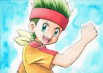 1boy :d blue_background cameron_(pokemon) clenched_hand commentary_request green_eyes green_hair hand_up headband highres looking_at_viewer looking_to_the_side male_focus oka_mochi open_mouth pokemon pokemon_(anime) pokemon_bw_(anime) red_headband shirt short_sleeves smile solo tongue traditional_media upper_body upper_teeth yellow_shirt