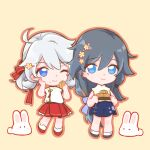 2girls antenna_hair bangs black_hair blue_eyes chibi china_dress chinese_clothes closed_mouth double_bun dress eating food food_in_mouth food_on_face fu_hua full_body hair_between_eyes hair_ornament hand_on_own_cheek hand_on_own_face highres holding holding_food honkai_(series) honkai_impact_3rd kiana_kaslana mooncake multiple_girls one_eye_closed rabbit simple_background smile standing tanghc175 white_hair yellow_background