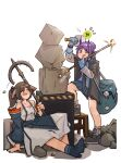 2girls :p absurdres animal_ears arknights bag black_jacket black_neckwear blue_footwear blue_gloves blue_jacket blue_shirt blue_skirt bow closed_eyes commentary_request demon_horns dress eyebrows_visible_through_hair fox_ears gameplay_mechanics gloves hair_bow hair_bun hammer hibiscus_(arknights) highres holding holding_hammer holding_staff horns jacket jumbowhopper knee_up korean_commentary looking_at_viewer mixed-language_commentary multiple_girls necktie off_shoulder one_eye_closed open_clothes open_jacket open_mouth orirock_(arknights) perfumer_(arknights) pleated_skirt ponytail purple_hair rock sculpting shirt shoulder_bag sidelocks simple_background sitting skirt staff stool tongue tongue_out white_background white_dress