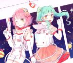 2girls alien bangs commentary_request copyright_request cowboy_shot elbow_gloves fangs gloves green_eyes green_hair hair_ornament holding long_hair mozukuzu_(manukedori) multiple_girls one_eye_closed open_mouth pink_hair planet_hair_ornament science_fiction shooting_star short_hair short_sleeves smile space spacesuit star_(sky) star_(symbol) star_hair_ornament twintails white_gloves yellow_eyes
