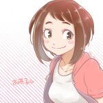 1girl alternate_costume bangs blush_stickers boku_no_hero_academia breasts brown_eyes brown_hair buthikireta collarbone commentary_request heart hood jacket looking_at_viewer open_clothes shirt short_hair simple_background smile solo striped striped_background translation_request twitter_username upper_body uraraka_ochako white_background