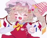 1girl :d alternate_neckwear bandaid blonde_hair blurry blush bow bowtie closed_mouth crystal depth_of_field fangs flandre_scarlet happy hat highres mob_cap one_side_up open_mouth plaid plaid_bow red_vest renakobonb short_hair simple_background smile solo touhou upper_body v vest white_background white_headwear wings yellow_neckwear