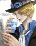 1boy black_headwear blonde_hair blue_eyes blue_shirt collared_shirt commentary_request cup food from_side fruit glass hands_up hat highres holding holding_cup holding_paper ice ice_cube lemon lemon_slice male_focus no_on_(no_oooo_on) one_piece paper sabo_(one_piece) scar shirt short_hair simple_background smile white_background white_neckwear