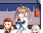 3girls absurdres bangs barbara_(genshin_impact) bare_shoulders black_eyes blue_eyes blurry blush brown_scarf cabbie_hat clover_print coat commentary_request depth_of_field detached_sleeves dress drill_hair earmuffs eating eyebrows_visible_through_hair food food_in_mouth food_on_face genshin_impact hair_between_eyes hair_ornament hat height_difference highres holding holding_food klee_(genshin_impact) lantern light_brown_hair long_hair long_sleeves looking_away low_twintails mechanical_halo multiple_girls no_gloves nun orange_eyes paimon_(genshin_impact) pointy_ears red_coat red_headwear scarf short_hair sidelocks siha size_difference steam sweet_potato twin_drills twintails white_dress white_hair