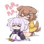 2girls :3 afterimage animal_collar animal_ears bone_hair_ornament cat_ears cat_girl cat_tail closed_eyes collar dog_ears dog_girl dog_tail eighth_note hair_ornament highres hololive inugami_korone kneeling licking licking_ear matarou_(matarou072) motion_lines multiple_girls musical_note nekomata_okayu pants sitting sweater sweatpants tail tail_wagging virtual_youtuber