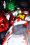 axe cape damaged getter-1 getter_robo getter_robo_(1st_series) highres kuman_bachi mecha no_humans open_hand red_cape science_fiction solo super_robot torn_cape torn_clothes