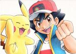 1boy :d ash_ketchum bangs baseball_cap black_hair blue_jacket brown_eyes clenched_hand commentary_request hair_between_eyes hand_up hat highres jacket looking_at_viewer male_focus oka_mochi open_mouth pikachu pokemon pokemon_(anime) pokemon_(creature) pokemon_swsh_(anime) red_headwear shirt short_hair short_sleeves sleeveless sleeveless_jacket smile spiky_hair t-shirt tongue traditional_media upper_body upper_teeth white_background white_shirt