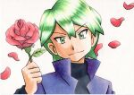 1boy bangs black_shirt closed_mouth commentary_request drew_(pokemon) flower green_eyes green_hair grey_background hair_between_eyes highres holding holding_flower jacket long_sleeves looking_at_viewer male_focus oka_mochi petals pokemon pokemon_(anime) pokemon_rse_(anime) popped_collar purple_jacket red_flower shirt short_hair smile solo split_mouth traditional_media upper_body