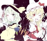 2girls alternate_hair_length alternate_hairstyle ascot bangs black_headwear commentary_request crystal earrings fangs flandre_scarlet green_nails hat heart heart_earrings heart_of_string holding holding_knife jewelry knife komeiji_koishi laevatein_(touhou) long_hair long_sleeves mob_cap mozukuzu_(manukedori) multiple_girls nail_polish one_eye_closed one_side_up open_mouth red_nails red_vest shirt short_sleeves smile starry_background third_eye touhou upper_body vest white_headwear white_shirt wings wrist_cuffs yellow_neckwear yellow_shirt