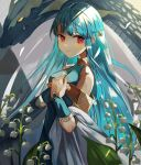 1girl absurdres bangs bare_shoulders blue_hair cape chil0107 dragon dragon_horns dress fire_emblem fire_emblem:_the_blazing_blade fire_emblem_heroes hair_ornament highres horns long_hair looking_at_viewer manakete ninian_(fire_emblem) pointy_ears red_eyes simple_background smile solo