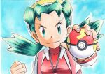 1girl bangs blue_background clenched_hand closed_mouth commentary_request covered_collarbone eyelashes fast_ball fingernails green_eyes green_hair hands_up hat highres holding holding_poke_ball jacket jewelry kris_(pokemon) long_hair long_sleeves looking_at_viewer necklace oka_mochi open_clothes open_jacket poke_ball pokemon pokemon_(game) pokemon_gsc red_shirt shirt smile solo tied_hair traditional_media twintails v-shaped_eyebrows white_jacket yellow_headwear