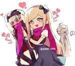 ... 1boy 1girl :d bangs barry_nah black_bow black_dress blonde_hair borrowed_garments bow braid character_print commentary crossed_arms dakimakura_(object) danganronpa_(series) danganronpa_2:_goodbye_despair dress english_commentary grey_eyes hair_bow heart holding holding_pillow jacket long_hair looking_at_viewer open_clothes open_jacket open_mouth pillow pink_scarf puffy_short_sleeves puffy_sleeves scarf short_sleeves smile sonia_nevermind spoken_ellipsis tanaka_gandamu twitter_username