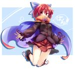 1girl bangs black_footwear black_shirt blue_background blue_bow bow cape full_body hair_bow high_collar isu_(is88) long_sleeves looking_at_viewer open_mouth purple_cape red_cape red_eyes red_skirt redhead sekibanki shirt shoes short_hair skirt smile solo touhou two-sided_cape two-sided_fabric