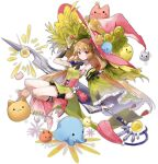 1girl ark_order artist_request bangs bare_shoulders berry black_bow black_legwear black_neckwear boots bow bowtie detached_sleeves dress frilled_sleeves frills garters grass green_dress hair_flaps hat holding holding_sword holding_weapon long_hair long_sleeves low_twintails official_art pink_eyes pink_footwear pink_headwear side_slit sidelocks single_sleeve socks solo sword tachi-e transparent_background twintails very_long_hair vidar_(ark_order) weapon wide_sleeves witch_hat