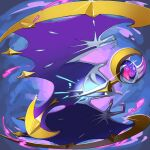 closed_mouth commentary_request energy fang glint glowing highres legendary_pokemon lunala mian_(3zandora) no_humans pokemon pokemon_(creature) solo white_eyes