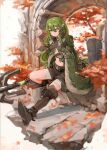 1girl absurdres arch arknights autumn_leaves black_footwear black_shorts boots cape commentary crocodilian_tail eyebrows_visible_through_hair full_body gavial_(arknights) green_cape green_hair highres holding holding_staff holding_tail jumbowhopper outdoors pointy_ears shorts sidelocks sitting solo staff tail thigh-highs thigh_boots yellow_eyes