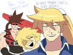 3boys blonde_hair blood blush brown_hair casual english_text eyepatch family father_and_son frown guilty_gear guilty_gear_xrd headband highres ky_kiske multiple_boys nosebleed ponytail sin_kiske sol_badguy sweatdrop tina_fate