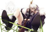 1girl ahoge animal_ears asymmetrical_legwear between_breasts bob-the-bison boots breasts coat commentary_request fur-trimmed_coat fur_trim grey_eyes grey_hair gun hololive lion_ears long_hair looking_at_viewer one_eye_closed open_mouth shishiro_botan shopping_cart shotgun simple_background sitting solo torn_clothes virtual_youtuber weapon weapon_request white_background