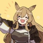 1girl ^_^ animal_ears arknights blush_stickers breasts brown_hair brown_jacket ceobe_(arknights) closed_eyes dog_ears emphasis_lines fang flower hand_up jacket large_breasts long_hair open_mouth sidelocks simple_background skin_fang solo upper_body vegetable_osamuta very_long_hair yellow_neckwear