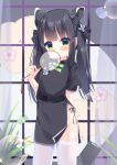 1girl absurdres animal_ear_fluff animal_ears arm_behind_back bangs black_dress black_hair black_panties blue_archive blunt_bangs blush bubble bubble_blowing china_dress chinese_clothes covering_mouth dress fengshen_chino green_eyes highres long_hair panties short_sleeves shun_(blue_archive) side-tie_panties smile solo thigh-highs thighs tiger_ears twintails underwear white_legwear
