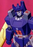 1boy absurdres arm_cannon clenched_hand clenched_teeth decepticon galvatron highres insignia jim_stafford looking_at_viewer mecha no_humans red_background red_eyes solo teeth transformers weapon