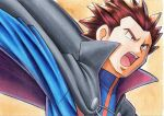 1boy blue_jacket brown_hair cape commentary_request grey_cape grey_eyes highres jacket lance_(pokemon) male_focus oka_mochi open_mouth orange_background outstretched_arm pokemon pokemon_(game) pokemon_hgss popped_collar short_hair solo spiky_hair tongue traditional_media turtleneck turtleneck_jacket upper_body upper_teeth
