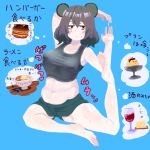 1girl alcohol alternate_costume animal_ears bangs black_eyes blue_background blush breasts burger cheese closed_mouth commentary_request cookie_(touhou) crop_top cup drinking_glass food full_body green_shorts grey_hair grey_shirt large_breasts mouse_ears nazrin noodles nyon_(cookie) psychic_parrot pudding ramen shirt short_hair shorts simple_background sleeveless sleeveless_shirt soles solo stretch thought_bubble touhou toy_car translation_request weight_conscious wine wine_glass yoga