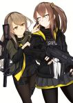 2girls black_jacket black_legwear black_scarf brown_hair camouflage camouflage_jacket closed_mouth eyebrows_visible_through_hair girls_frontline grey_skirt gun h&k_ump hairband highres holding holding_weapon jacket light_brown_hair lodbyy long_hair looking_at_another multiple_girls open_clothes open_jacket pantyhose rifle_on_back scarf side_ponytail skirt smile standing submachine_gun ump40_(girls'_frontline) ump45_(girls'_frontline) weapon weapon_on_back white_background white_eyes yellow_eyes